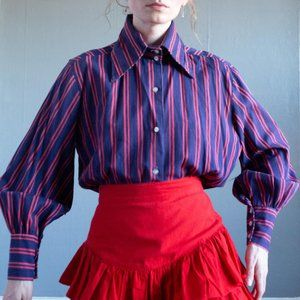 1960's Vintage Striped Bishop Sleeve Blouse